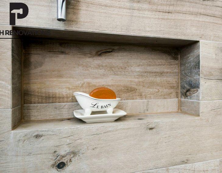Bathroom shelf feature