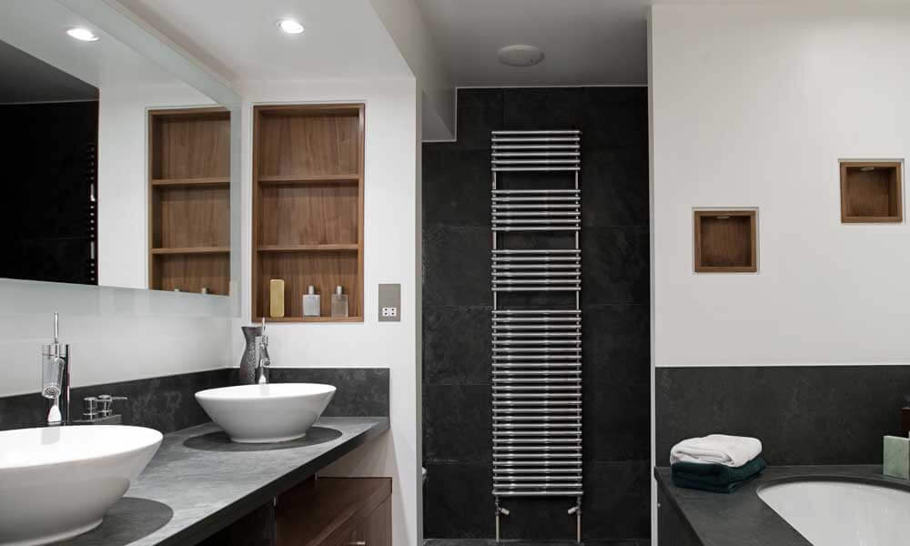 A completed renovation with black tiles