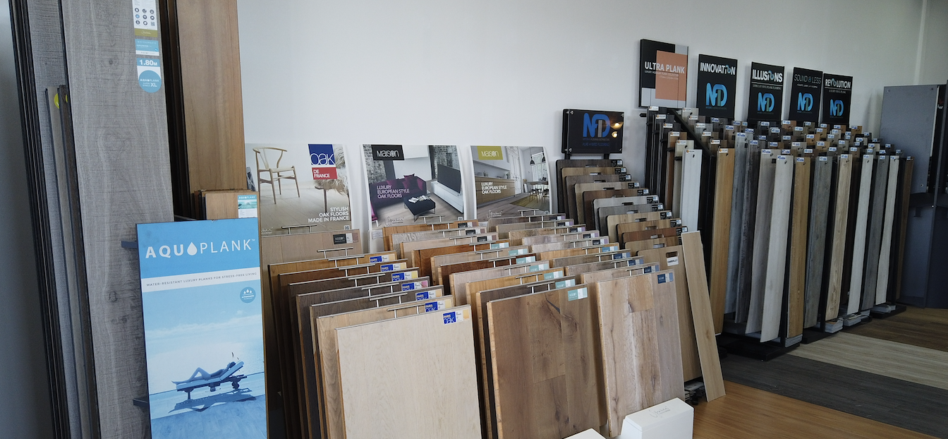 A flooring store show room showing a wide range of products.