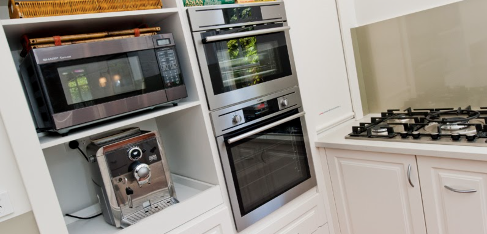 Chrome home appliances in place to suit renovation design