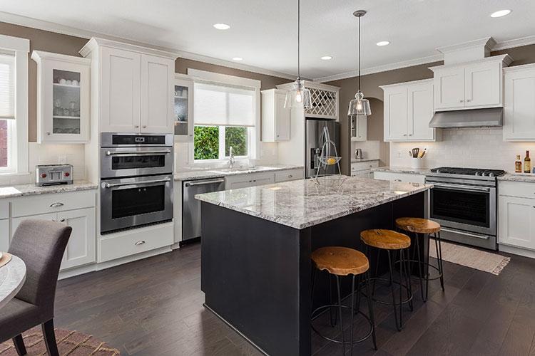 kitchen with breakfast bar island