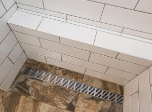 Tiling work of a north Fremantle bathroom renovation.