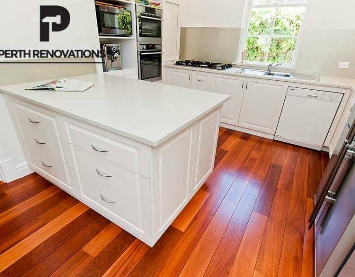 Polished kitchen floor boards