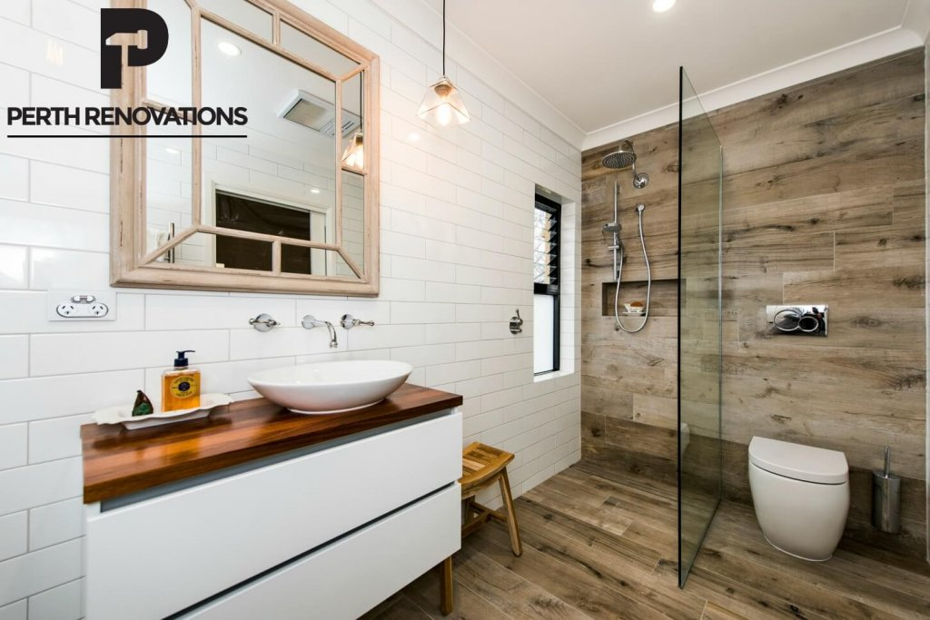 bathroom renovation with glass wood industrial
