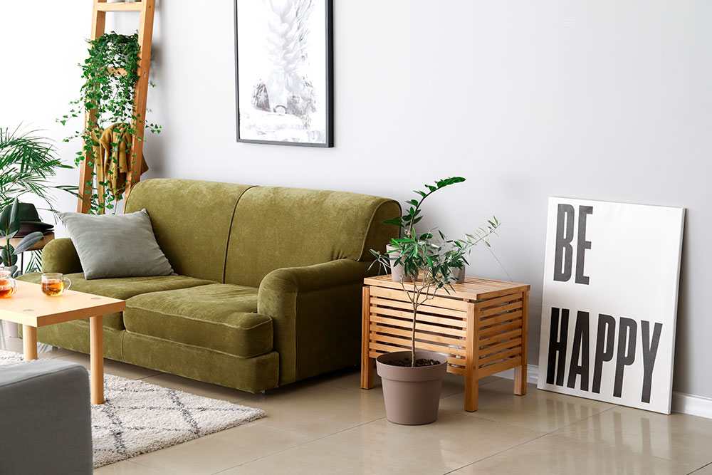 living room with sustainable materials