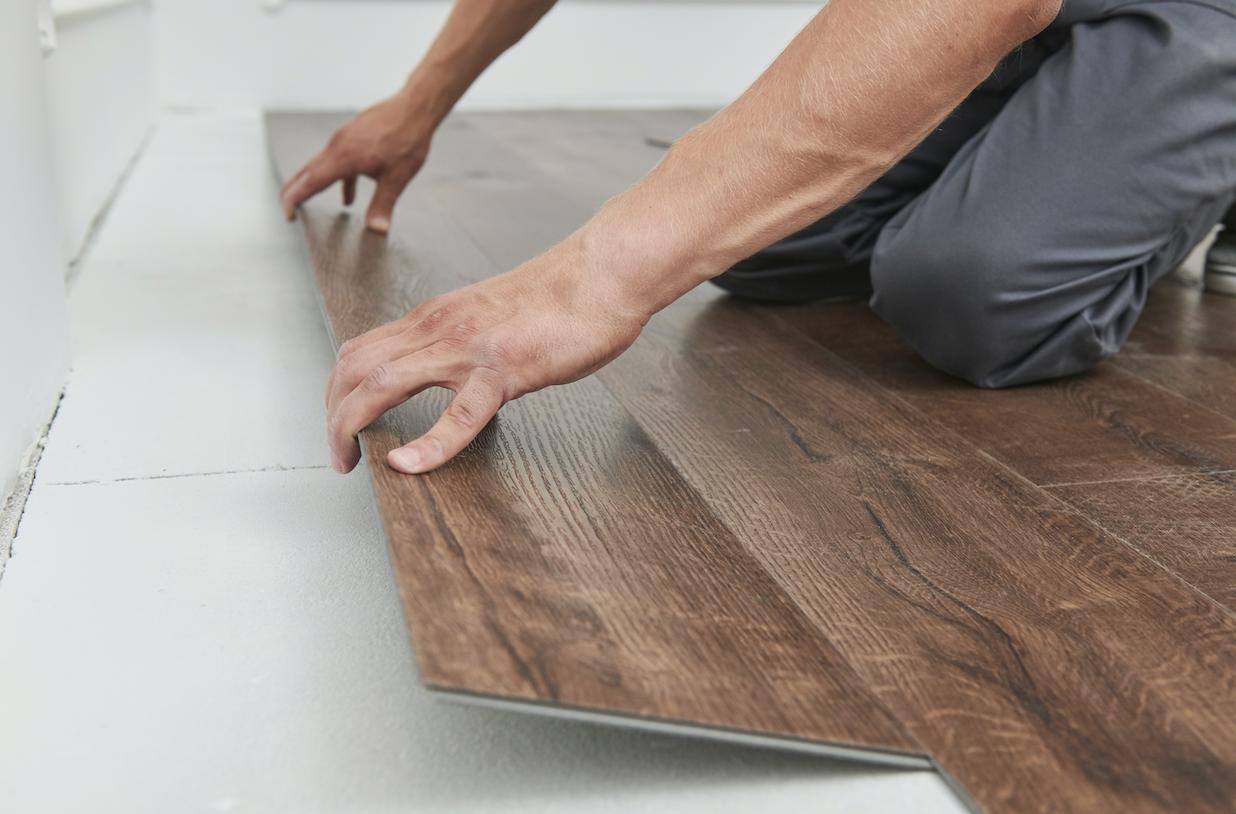 Vinyl flooring used for bathrooms.