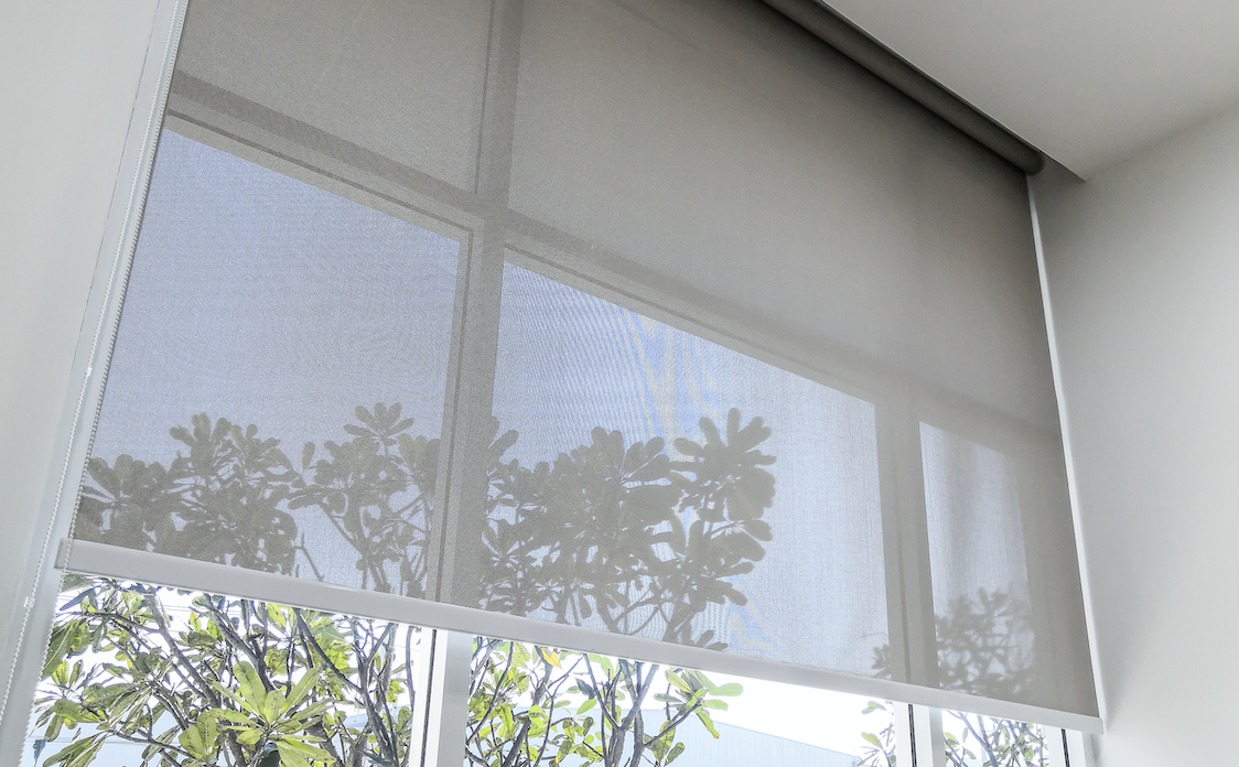 Window covering with a tree outside in the background.