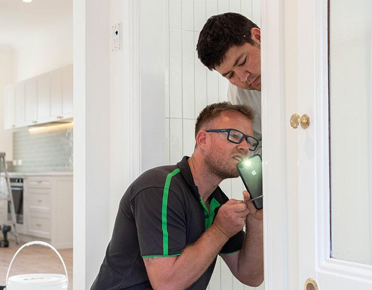 Inspecting renovation job