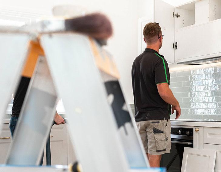 Working on kitchen