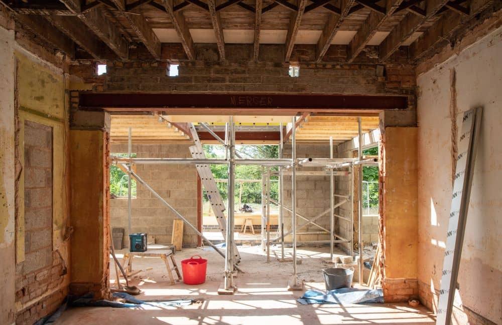 A house under renovation.