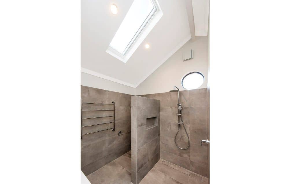 Bathroom with ceiling lights.