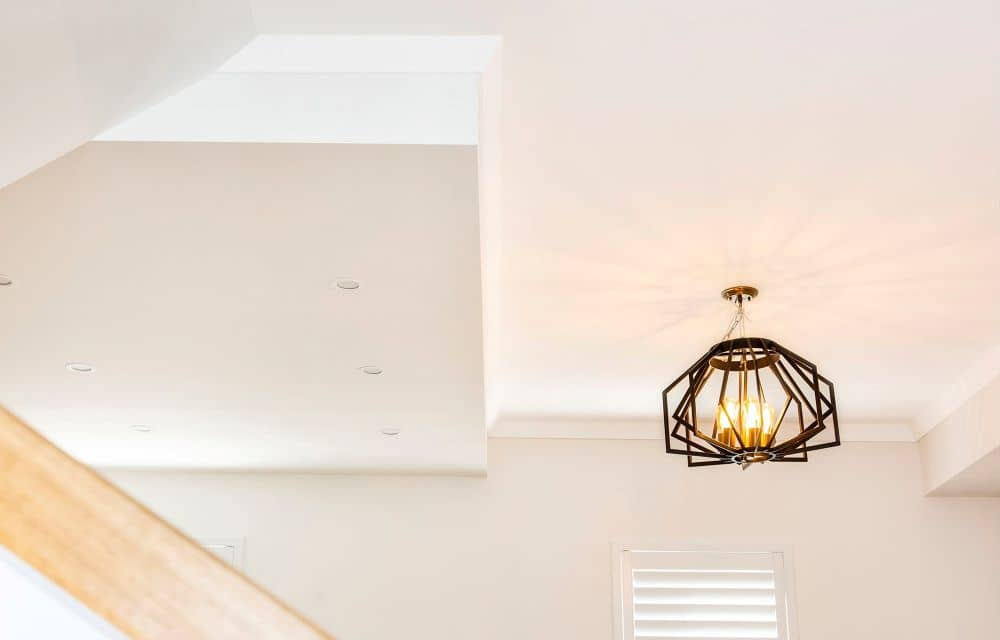 Newly renovated kitchen with pendant light.