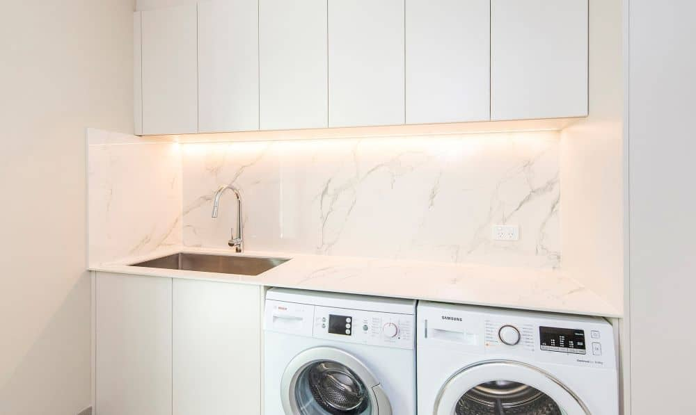 Laundry room with ambient light.