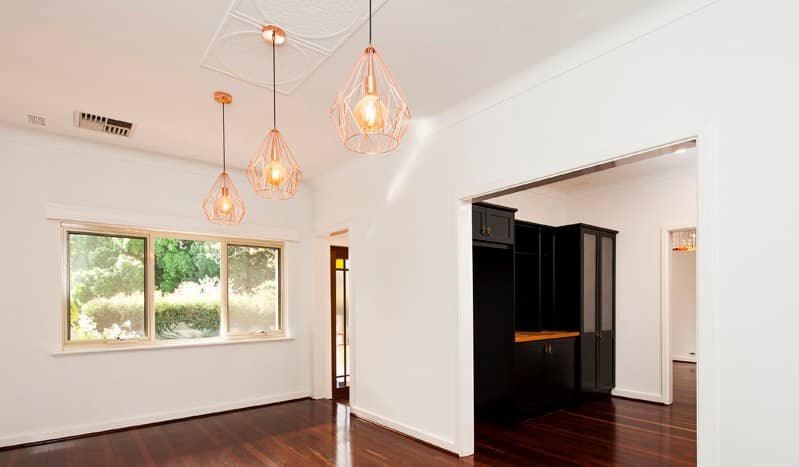 Living room pendant lights.