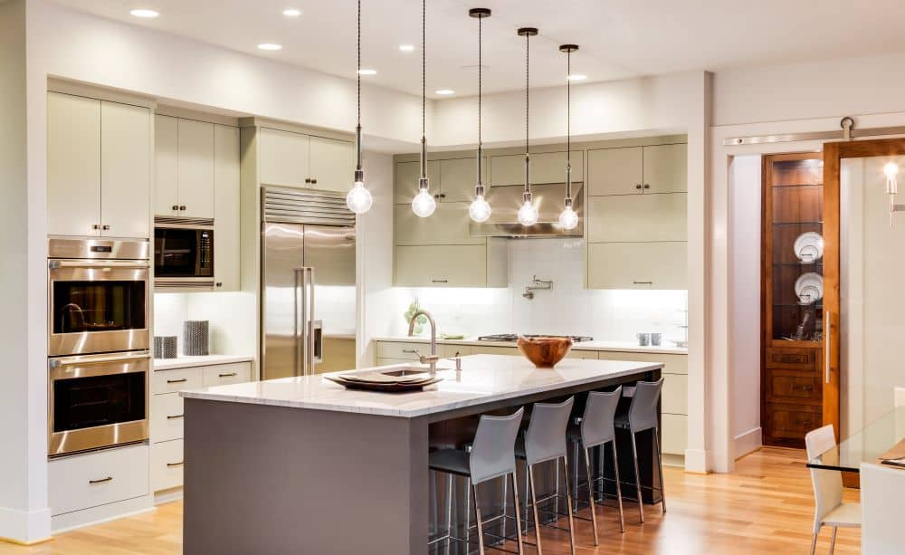 Modern kitchen with pendant lights.