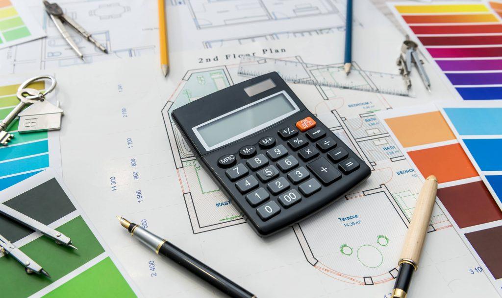 Floor plans, colour palettes, calculator - renovation concept.