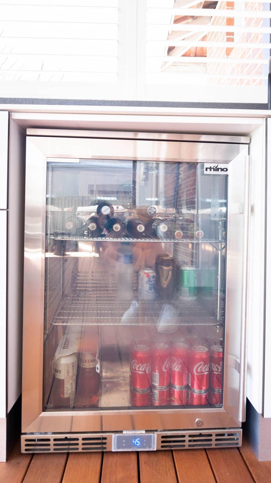 Stocked bar fridge