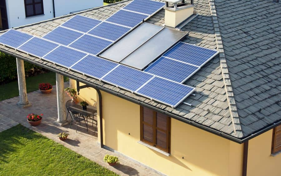 House roofing with solar panels.